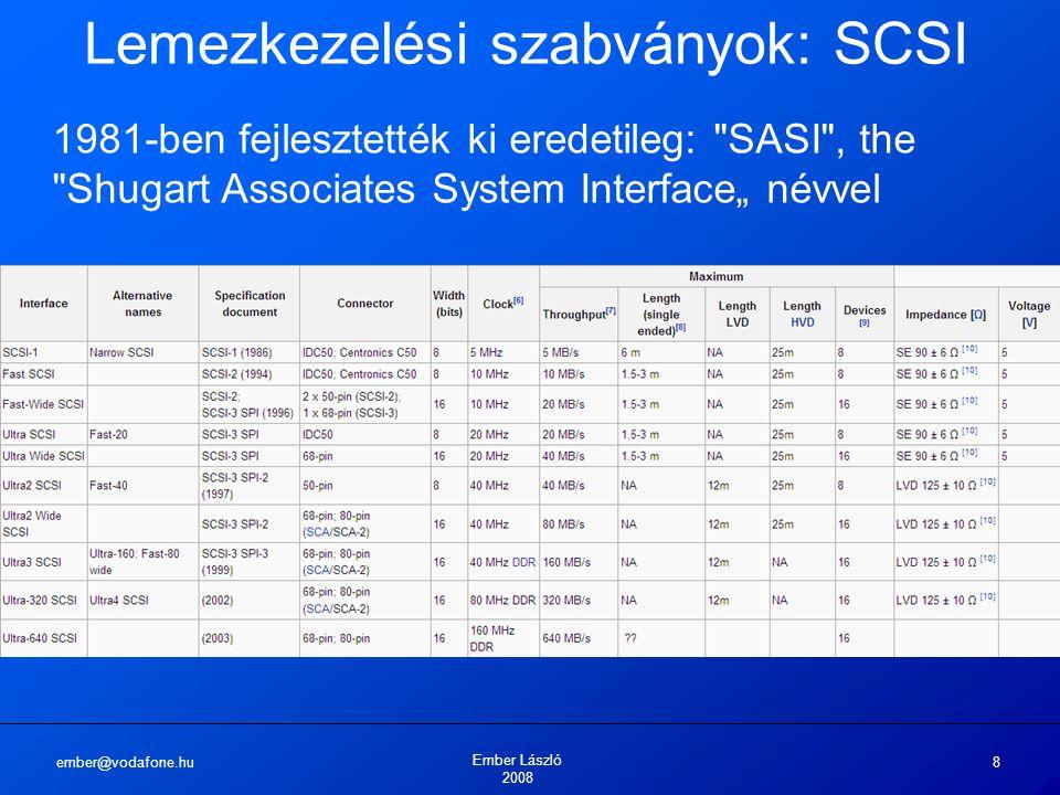 ember@vodafone.hu Ember László 2008 8 Lemezkezelési szabványok: SCSI 1981-ben fejlesztették ki eredetileg:
