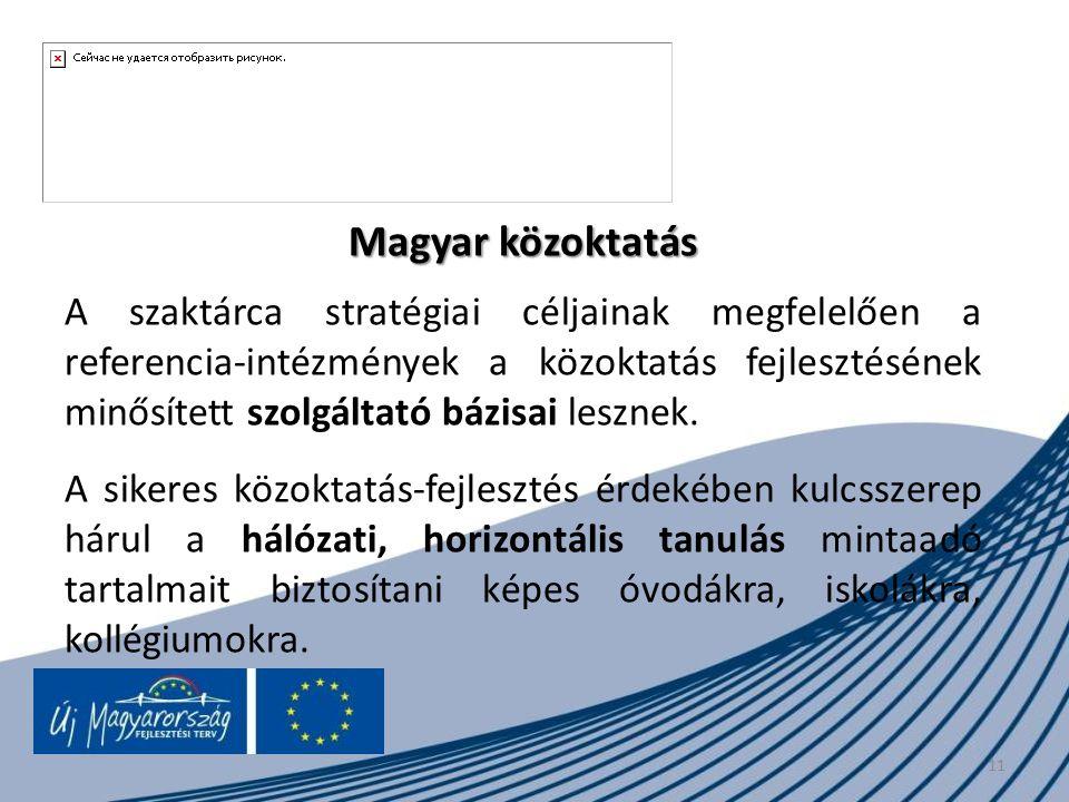 11 Magyar közoktatás A szaktárca stratégiai céljainak megfelelően a referencia-intézmények a közoktatás fejlesztésének minősített szolgáltató bázisai