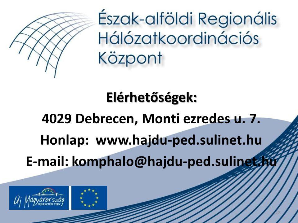 22 Elérhetőségek: 4029 Debrecen, Monti ezredes u. 7. Honlap: www.hajdu-ped.sulinet.hu E-mail: komphalo@hajdu-ped.sulinet.hu