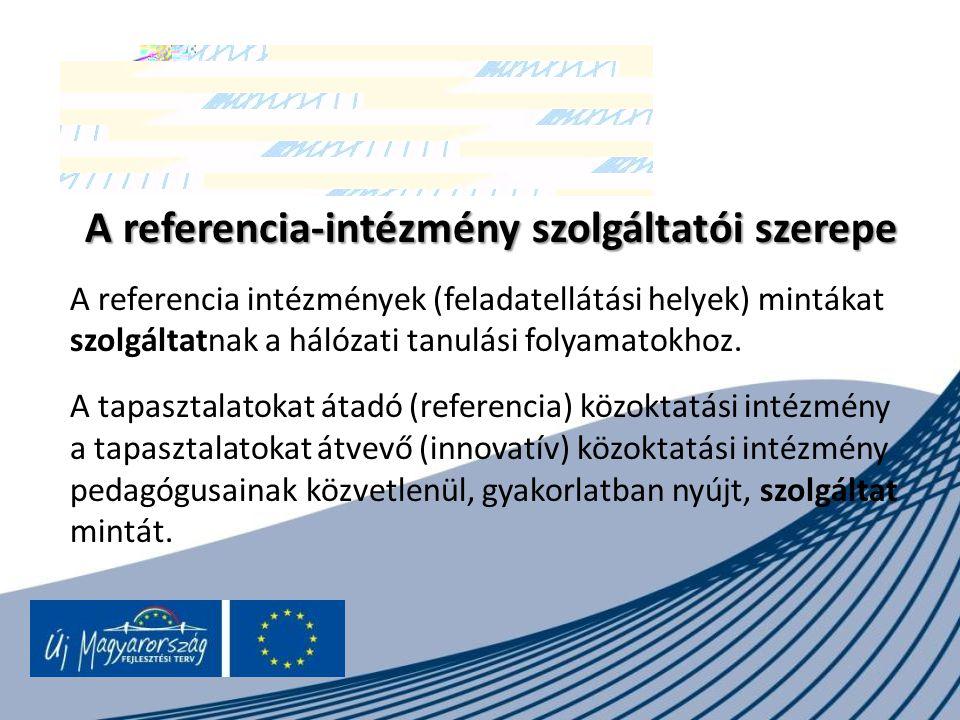 A referencia-intézmény szolgáltatói szerepe A referencia intézmények (feladatellátási helyek) mintákat szolgáltatnak a hálózati tanulási folyamatokhoz