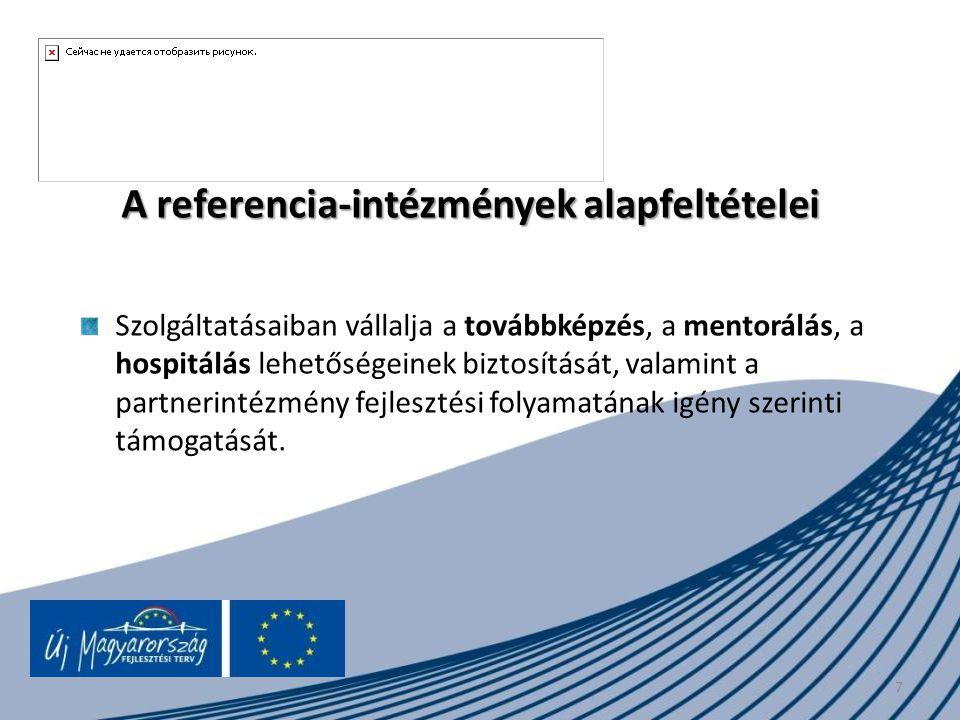 A referencia-intézmények alapfeltételei Szolgáltatásaiban vállalja a továbbképzés, a mentorálás, a hospitálás lehetőségeinek biztosítását, valamint a