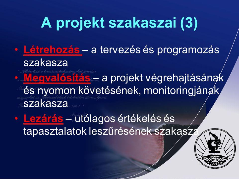 A projekt szakaszai (3) Létrehozás – a tervezés és programozás szakasza Megvalósítás – a projekt végrehajtásának és nyomon követésének, monitoringjána