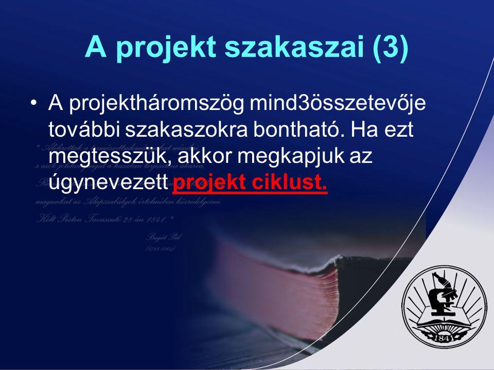 A projekt szakaszai (3) A projektháromszög mind3összetevője további szakaszokra bontható. Ha ezt megtesszük, akkor megkapjuk az úgynevezett projekt ci