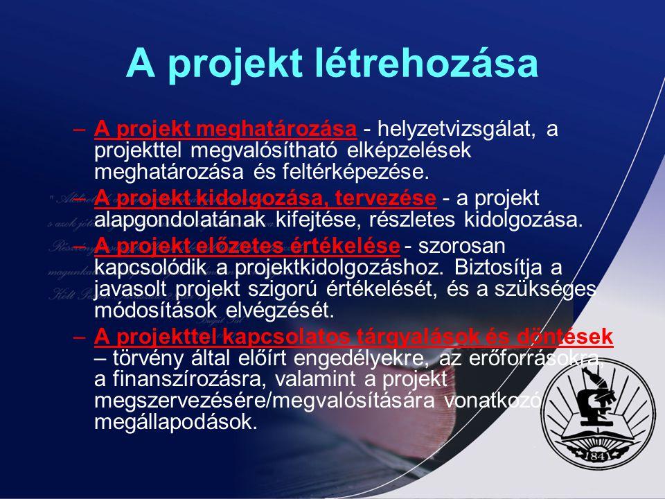 A projekt létrehozása –A projekt meghatározása - helyzetvizsgálat, a projekttel megvalósítható elképzelések meghatározása és feltérképezése. –A projek