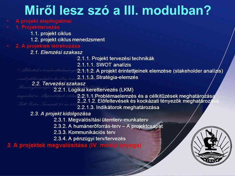 Miről lesz szó a III. modulban? A projekt alapfogalmai 1. Projekttervezés 1.1. projekt ciklus 1.2. projekt ciklus menedzsment 2. A projektek létrehozá