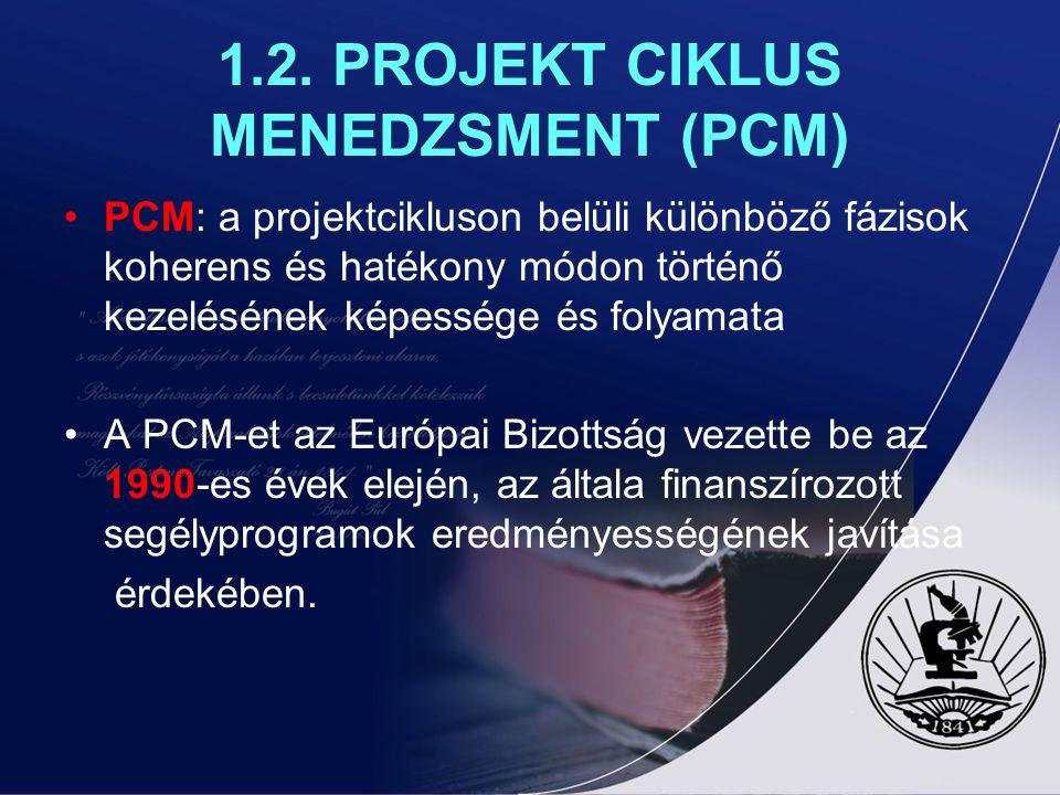 1.2. PROJEKT CIKLUS MENEDZSMENT (PCM) PCM: a projektcikluson belüli különböző fázisok koherens és hatékony módon történő kezelésének képessége és foly
