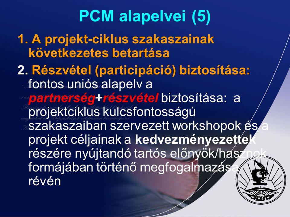 PCM alapelvei (5) 1. A projekt-ciklus szakaszainak következetes betartása 2. Részvétel (participáció) biztosítása: fontos uniós alapelv a partnerség+r