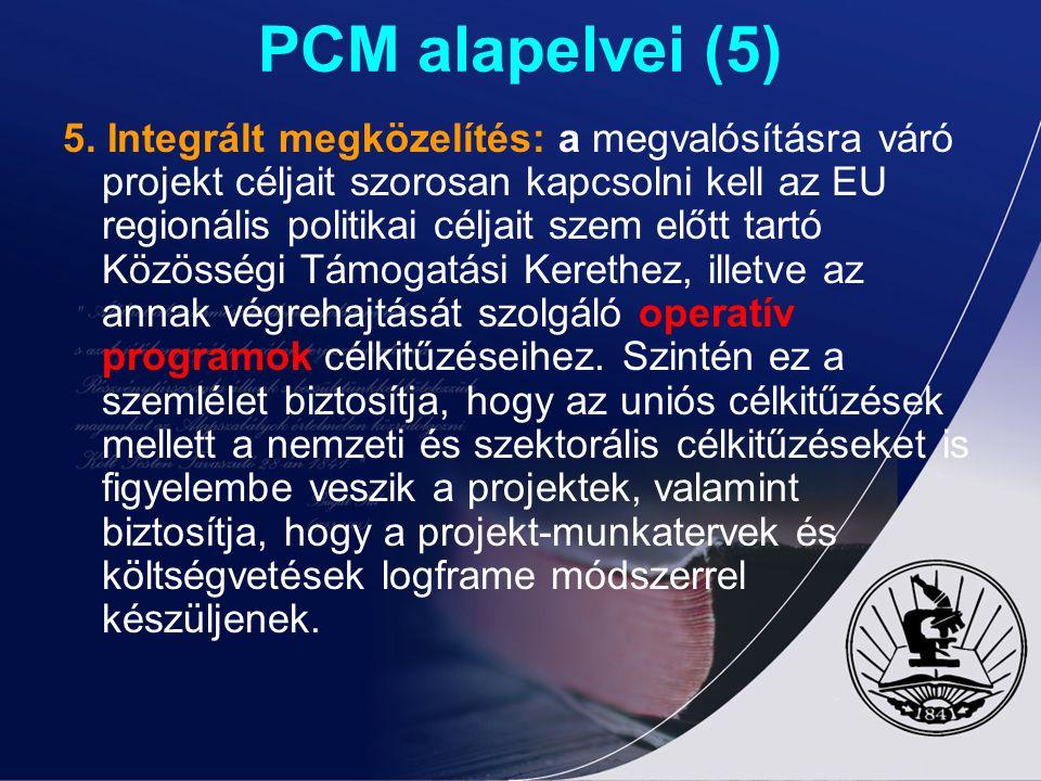 PCM alapelvei (5) 5. Integrált megközelítés: a megvalósításra váró projekt céljait szorosan kapcsolni kell az EU regionális politikai céljait szem elő