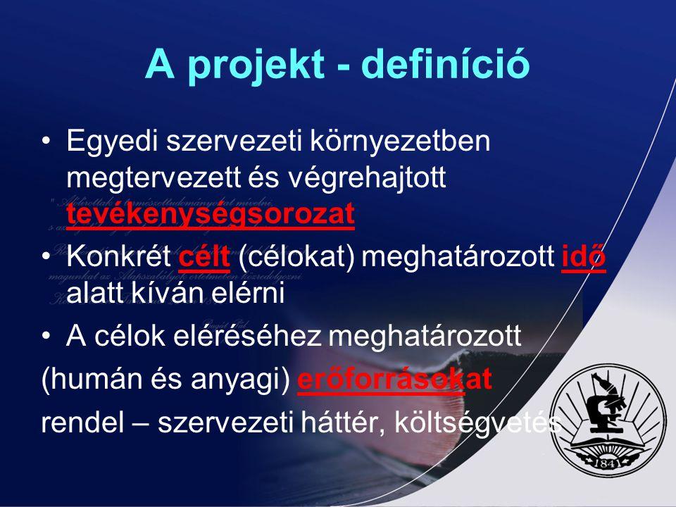 A projekt - definíció Egyedi szervezeti környezetben megtervezett és végrehajtott tevékenységsorozat Konkrét célt (célokat) meghatározott idő alatt kí