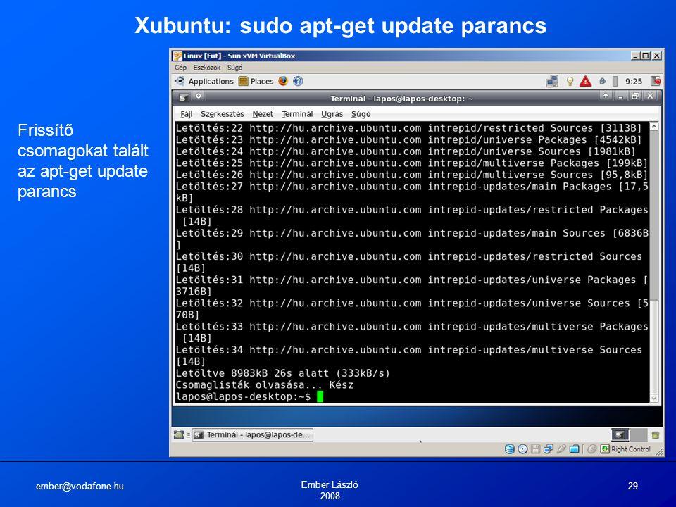 ember@vodafone.hu Ember László 2008 29 Xubuntu: sudo apt-get update parancs Frissítő csomagokat talált az apt-get update parancs
