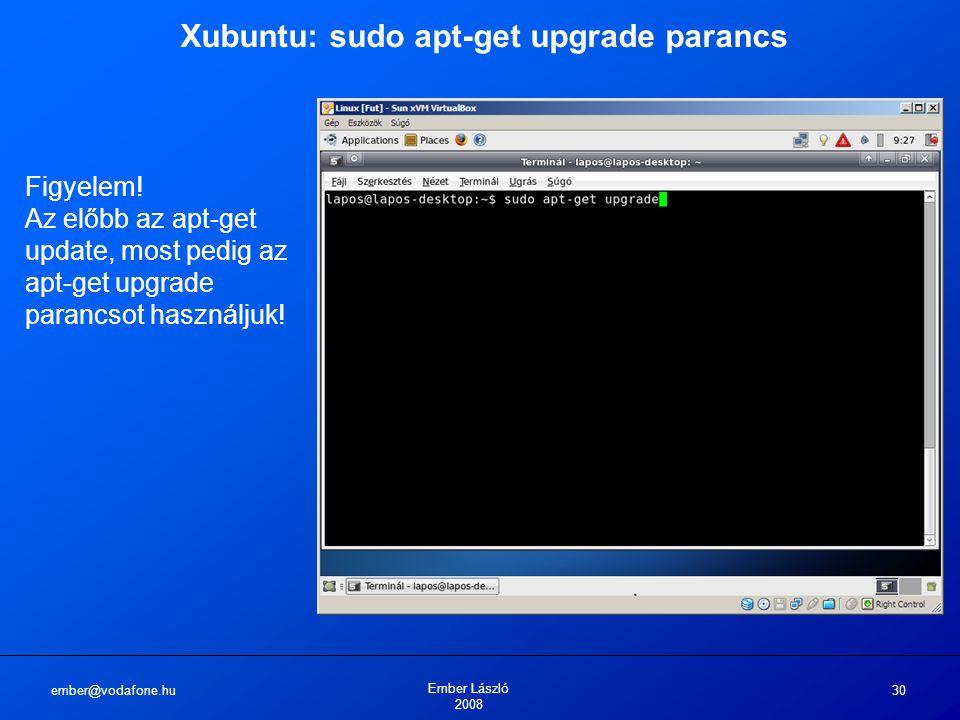 ember@vodafone.hu Ember László 2008 30 Xubuntu: sudo apt-get upgrade parancs Figyelem.