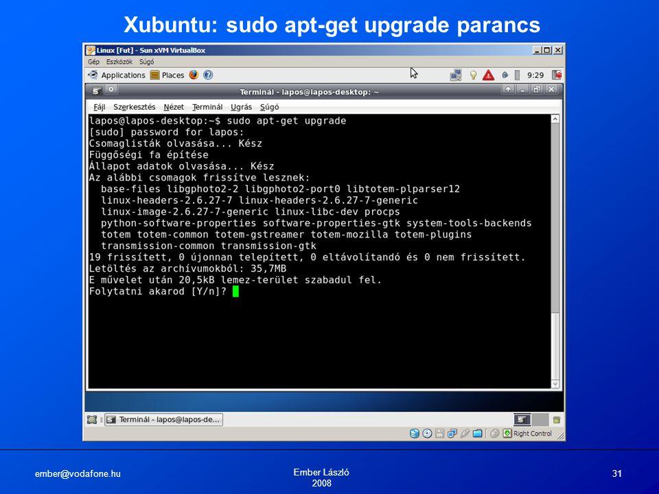 ember@vodafone.hu Ember László 2008 31 Xubuntu: sudo apt-get upgrade parancs