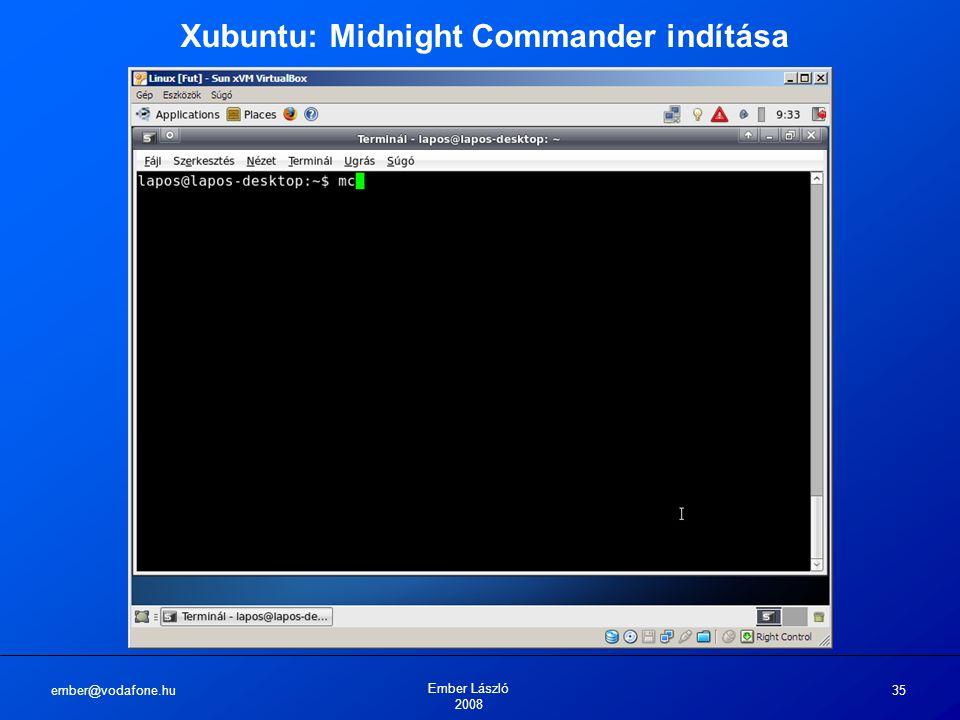 ember@vodafone.hu Ember László 2008 35 Xubuntu: Midnight Commander indítása