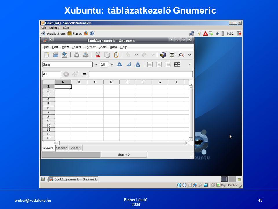 ember@vodafone.hu Ember László 2008 45 Xubuntu: táblázatkezelő Gnumeric