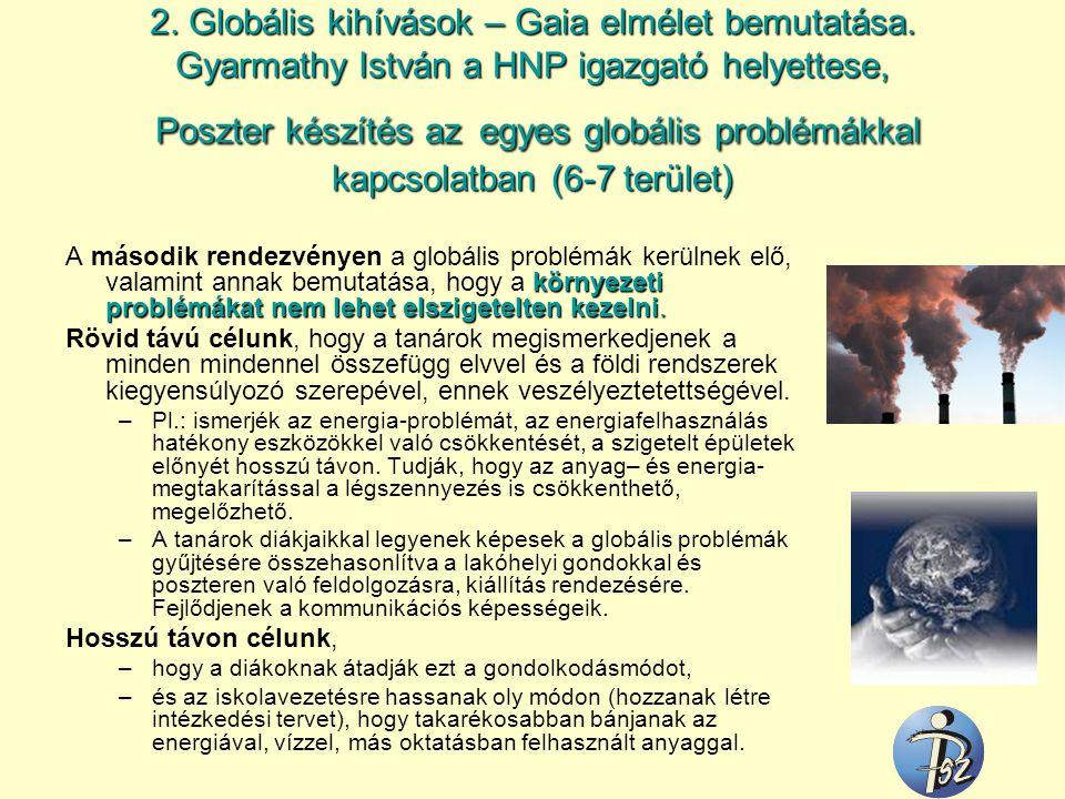 2. Globális kihívások – Gaia elmélet bemutatása. Gyarmathy István a HNP igazgató helyettese, Poszter készítés azegyes globális problémákkal kapcsolatb
