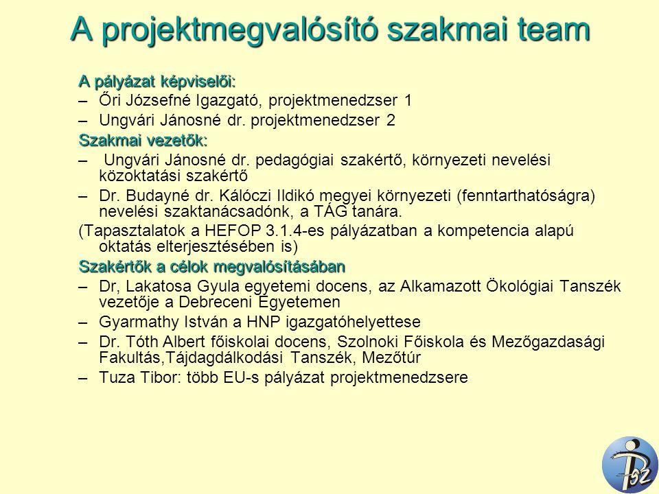 A projektmegvalósító szakmai team A pályázat képviselői: –Őri Józsefné Igazgató, projektmenedzser 1 –Ungvári Jánosné dr. projektmenedzser 2 Szakmai ve