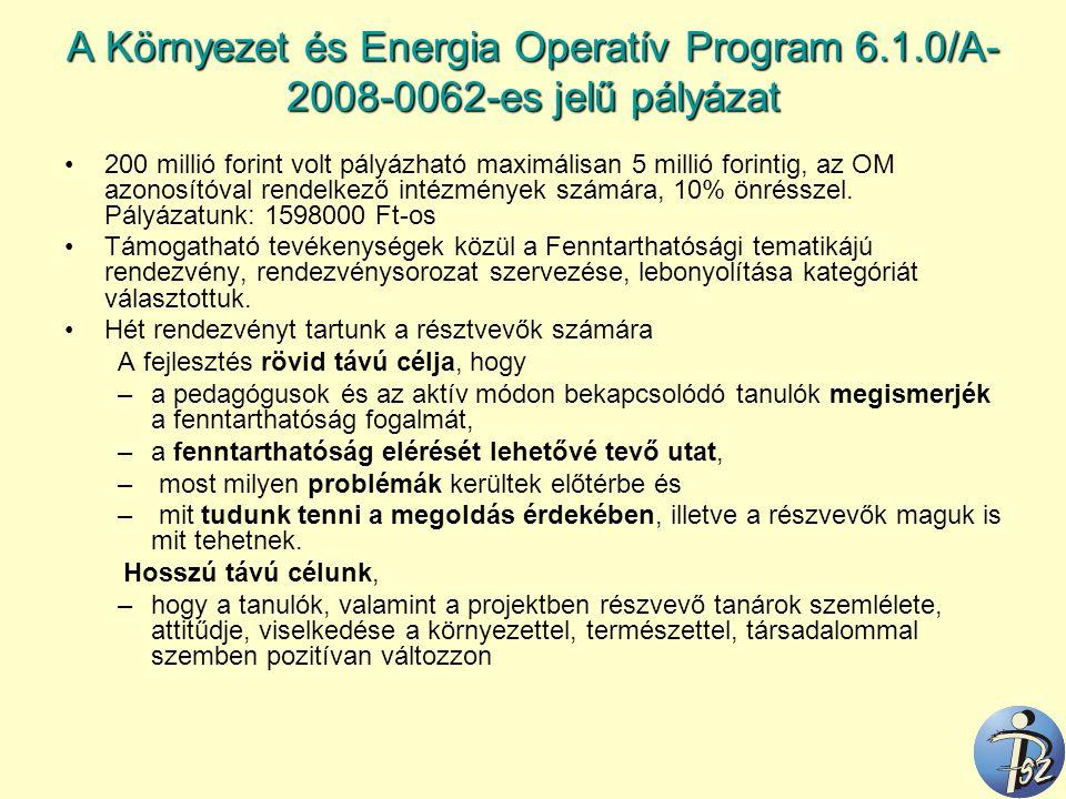 A Környezet és Energia Operatív Program 6.1.0/A- 2008-0062-es jelű pályázat 200 millió forint volt pályázható maximálisan 5 millió forintig, az OM azo