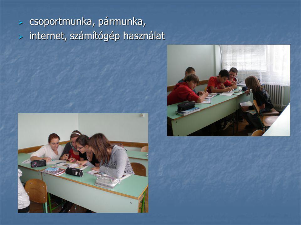  csoportmunka, pármunka,  internet, számítógép használat
