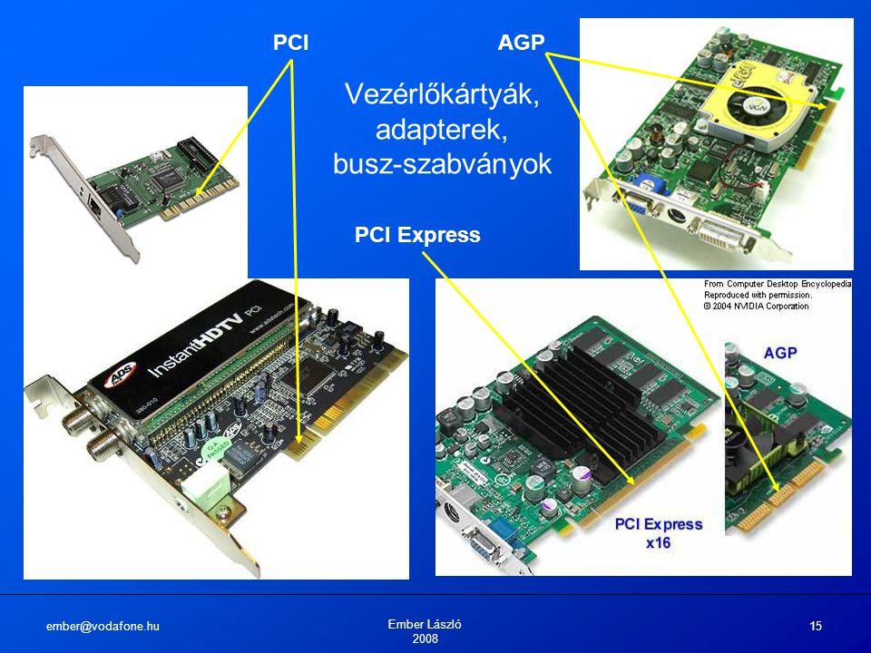 ember@vodafone.hu Ember László 2008 15 Vezérlőkártyák, adapterek, busz-szabványok AGPPCI PCI Express