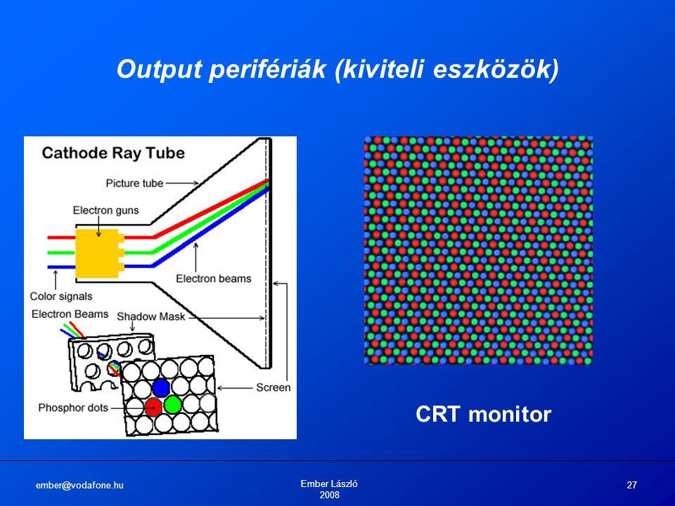 ember@vodafone.hu Ember László 2008 27 Output perifériák (kiviteli eszközök) CRT monitor