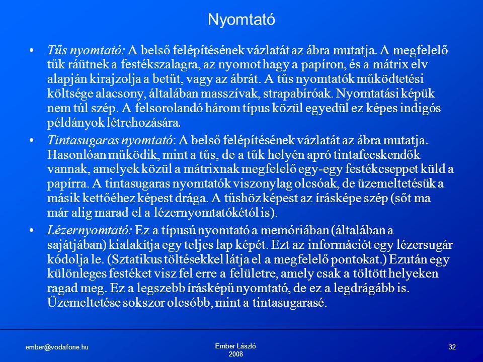 ember@vodafone.hu Ember László 2008 32 Nyomtató Tűs nyomtató: A belső felépítésének vázlatát az ábra mutatja.