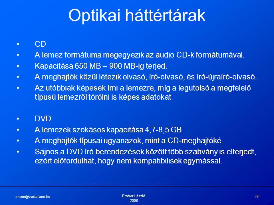 ember@vodafone.hu Ember László 2008 38 Optikai háttértárak CD A lemez formátuma megegyezik az audio CD-k formátumával. Kapacitása 650 MB – 900 MB-ig t