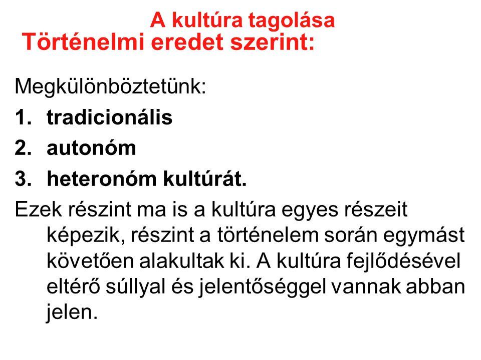 A kultúra tagolása Megkülönböztetünk: 1.tradicionális 2.autonóm 3.heteronóm kultúrát.