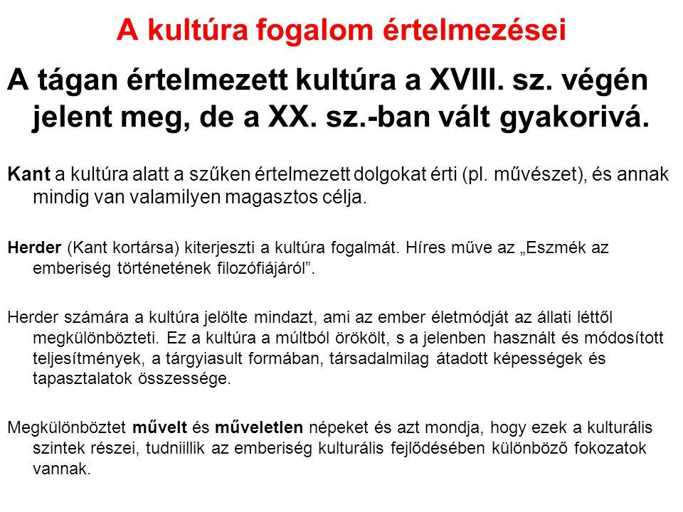 A kultúra fogalom értelmezései Hankiss Elemér szerint alapvetően kétféle kultúra létezik: Magas kultúra: erre büszke lehet a magyar társadalom Mindennapi élet kultúrája: emiatt szégyenkeznünk kell.