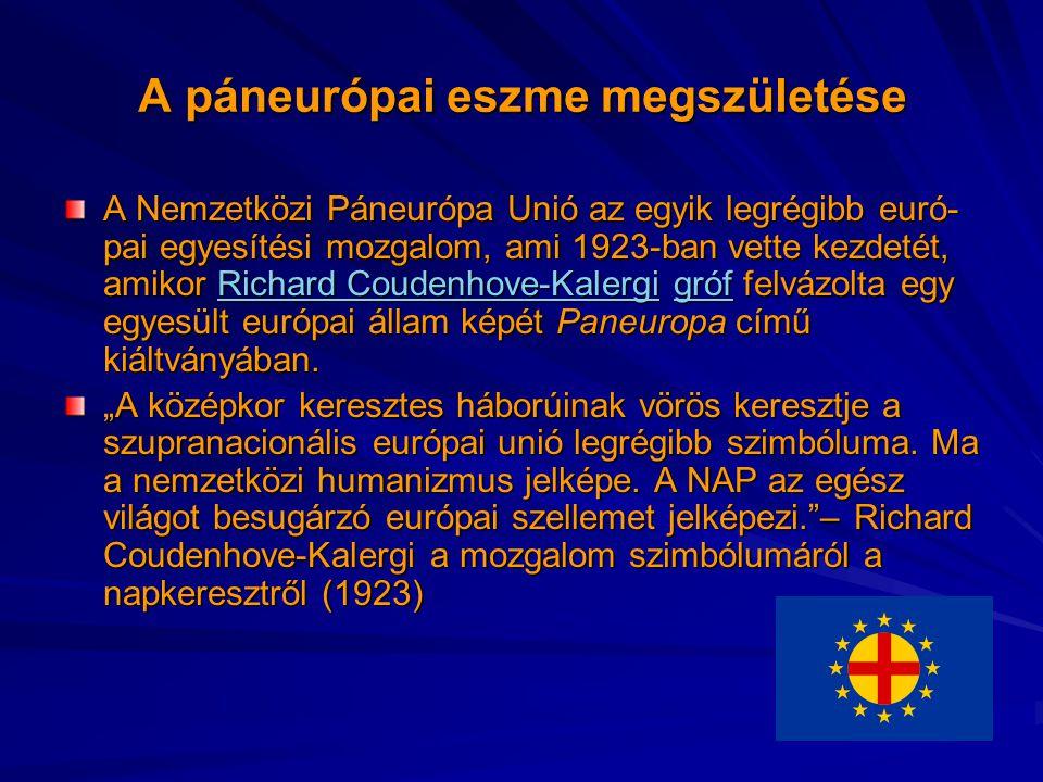 A páneurópai eszme megszületése A Nemzetközi Páneurópa Unió az egyik legrégibb euró- pai egyesítési mozgalom, ami 1923-ban vette kezdetét, amikor Rich