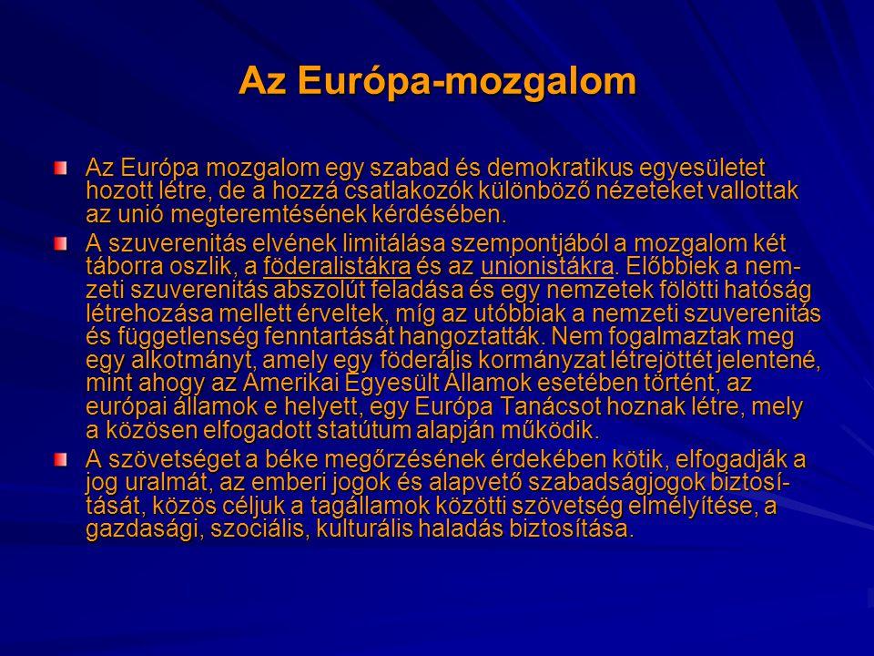 Az Európa-mozgalom Az Európa mozgalom egy szabad és demokratikus egyesületet hozott létre, de a hozzá csatlakozók különböző nézeteket vallottak az unió megteremtésének kérdésében.