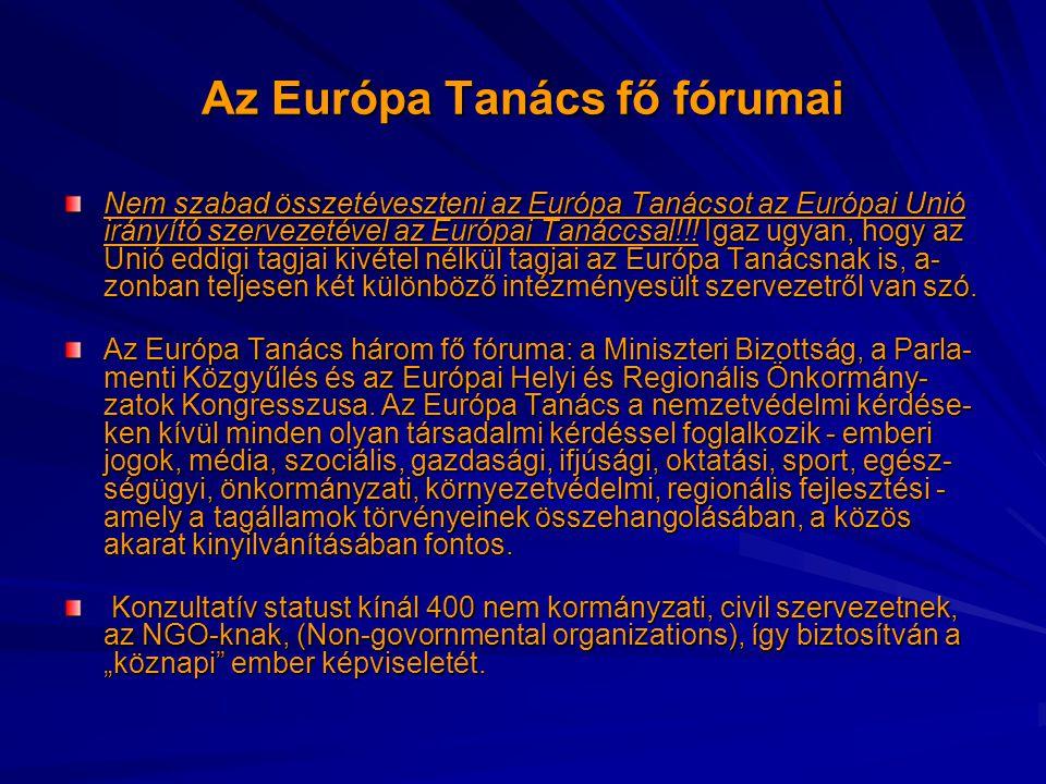 Az Európa Tanács fő fórumai Nem szabad összetéveszteni az Európa Tanácsot az Európai Unió irányító szervezetével az Európai Tanáccsal!!! Igaz ugyan, h