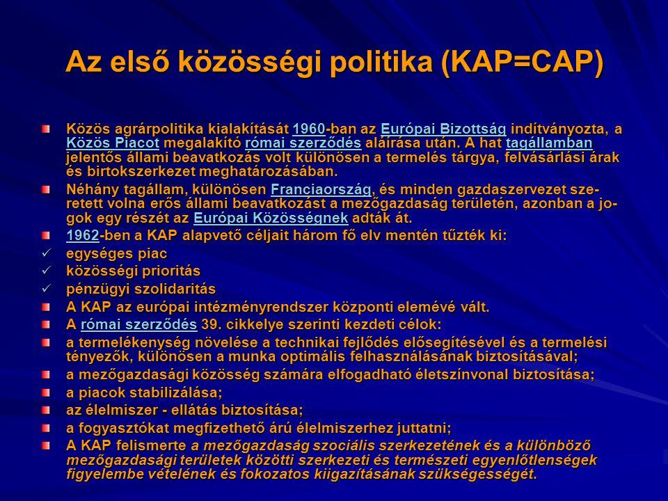 Az első közösségi politika (KAP=CAP) Közös agrárpolitika kialakítását 1960-ban az Európai Bizottság indítványozta, a Közös Piacot megalakító római sze