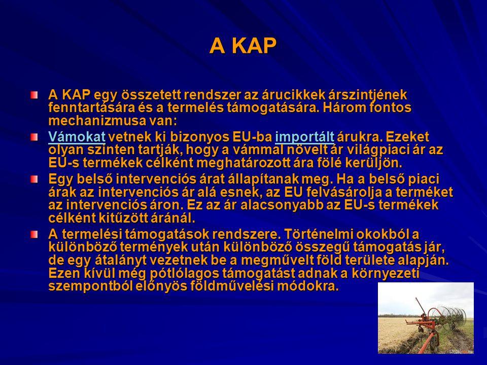 A KAP A KAP egy összetett rendszer az árucikkek árszintjének fenntartására és a termelés támogatására.