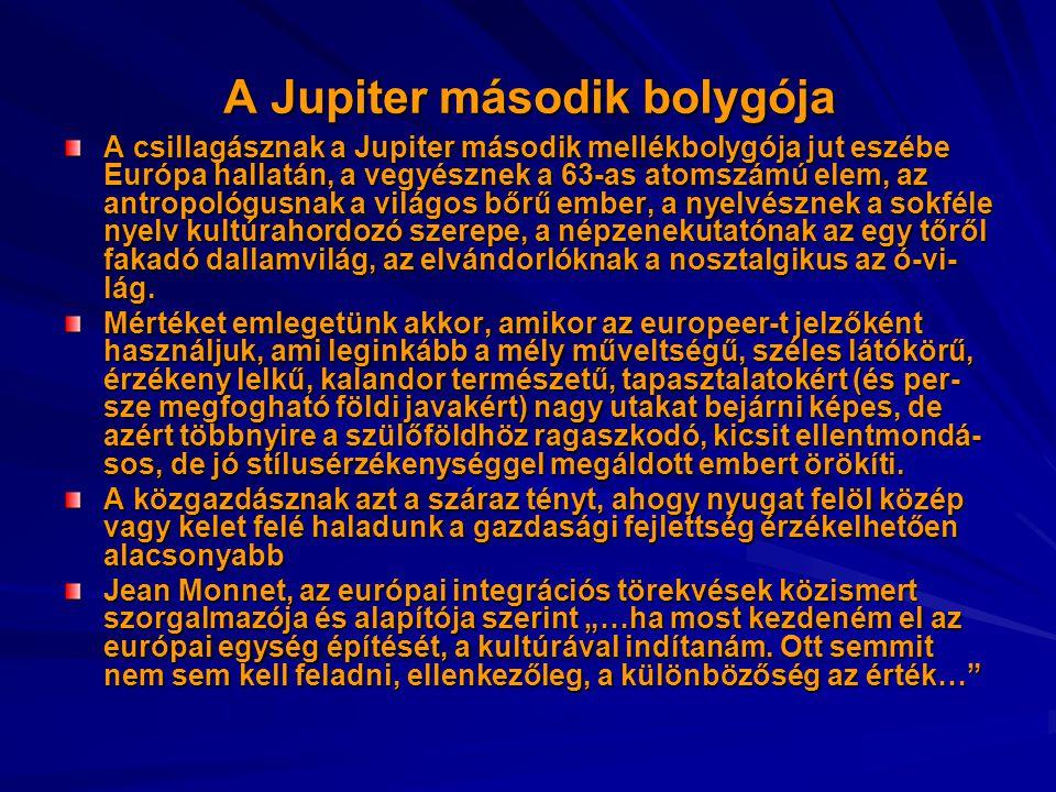 A Jupiter második bolygója A csillagásznak a Jupiter második mellékbolygója jut eszébe Európa hallatán, a vegyésznek a 63-as atomszámú elem, az antrop