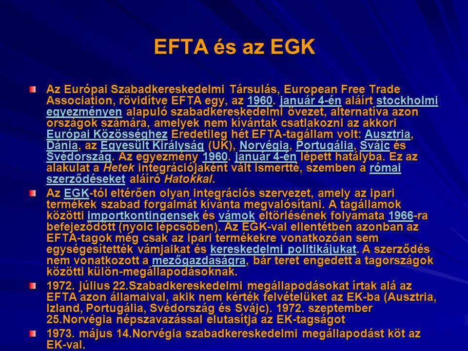 EFTA és az EGK Az Európai Szabadkereskedelmi Társulás, European Free Trade Association, rövidítve EFTA egy, az 1960. január 4-én aláírt stockholmi egy