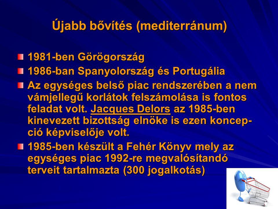 Újabb bővítés (mediterránum) 1981-ben Görögország 1986-ban Spanyolország és Portugália Az egységes belső piac rendszerében a nem vámjellegű korlátok felszámolása is fontos feladat volt.