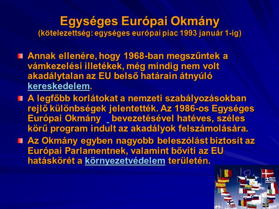 Egységes Európai Okmány (kötelezettség: egységes európai piac 1993 január 1-ig) Annak ellenére, hogy 1968-ban megszűntek a vámkezelési illetékek, még