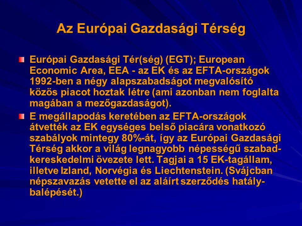 Az Európai Gazdasági Térség Európai Gazdasági Tér(ség) (EGT); European Economic Area, EEA - az EK és az EFTA-országok 1992-ben a négy alapszabadságot megvalósító közös piacot hoztak létre (ami azonban nem foglalta magában a mezőgazdaságot).