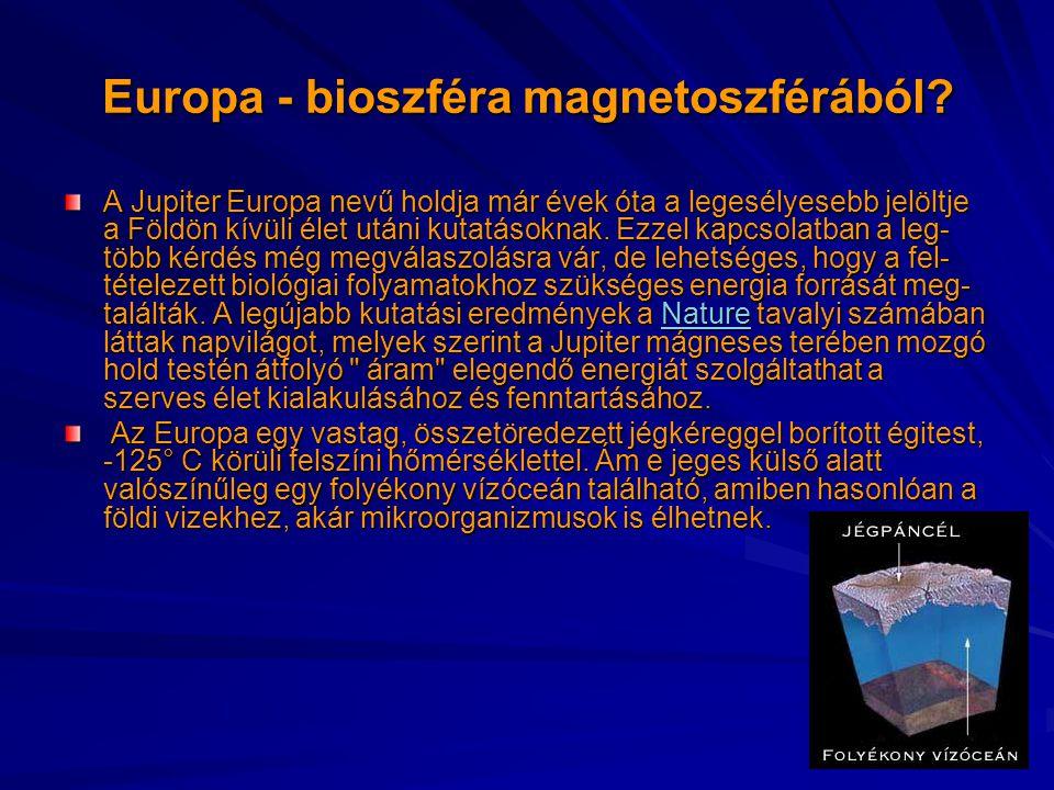 Europa - bioszféra magnetoszférából? A Jupiter Europa nevű holdja már évek óta a legesélyesebb jelöltje a Földön kívüli élet utáni kutatásoknak. Ezzel
