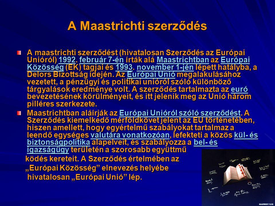 A Maastrichti szerződés A maastrichti szerződést (hivatalosan Szerződés az Európai Unióról) 1992. február 7-én írták alá Maastrichtban az Európai Közö
