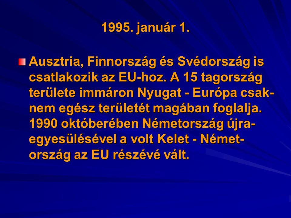 1995. január 1. Ausztria, Finnország és Svédország is csatlakozik az EU-hoz. A 15 tagország területe immáron Nyugat - Európa csak- nem egész területét
