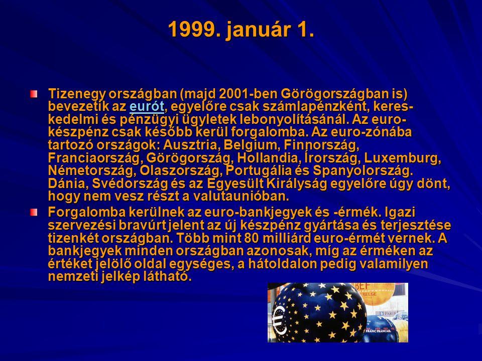 1999. január 1. Tizenegy országban (majd 2001-ben Görögországban is) bevezetik az eurót, egyelőre csak számlapénzként, keres- kedelmi és pénzügyi ügyl