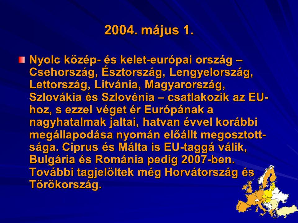2004. május 1. Nyolc közép- és kelet-európai ország – Csehország, Észtország, Lengyelország, Lettország, Litvánia, Magyarország, Szlovákia és Szlovéni