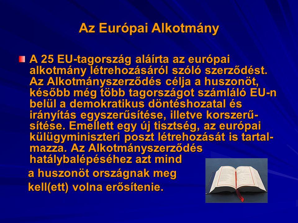 Az Európai Alkotmány A 25 EU-tagország aláírta az európai alkotmány létrehozásáról szóló szerződést. Az Alkotmányszerződés célja a huszonöt, később mé