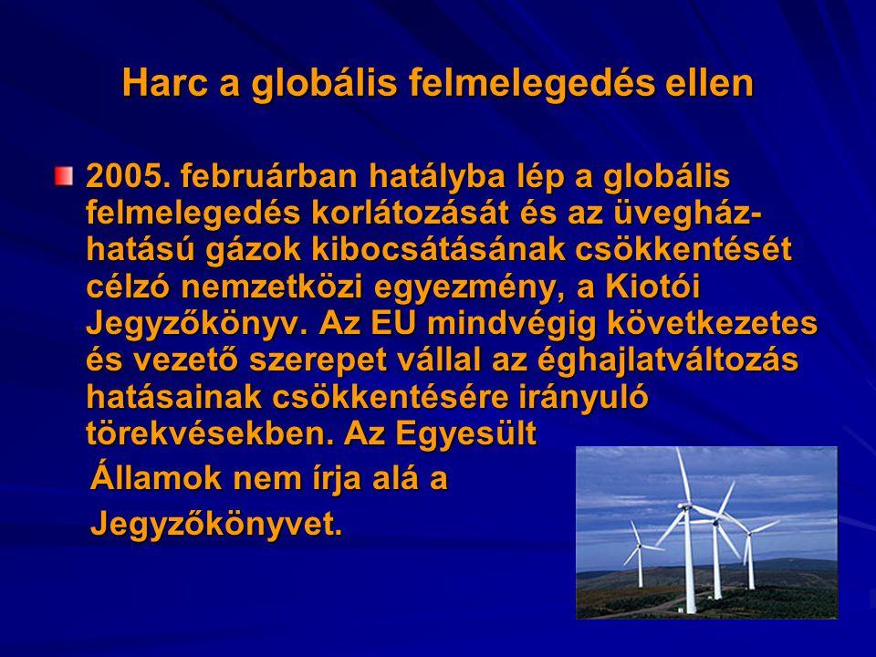 Harc a globális felmelegedés ellen 2005. februárban hatályba lép a globális felmelegedés korlátozását és az üvegház- hatású gázok kibocsátásának csökk