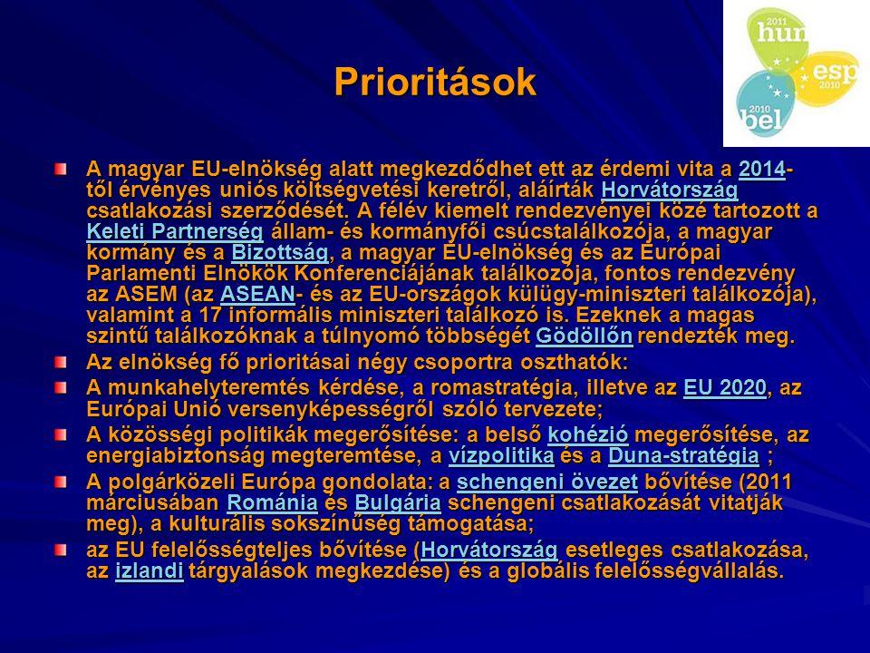 Prioritások A magyar EU-elnökség alatt megkezdődhet ett az érdemi vita a 2014- től érvényes uniós költségvetési keretről, aláírták Horvátország csatla
