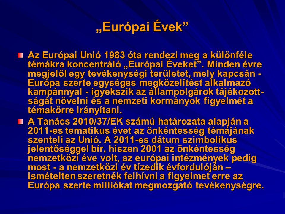 """""""Európai Évek"""" Az Európai Unió 1983 óta rendezi meg a különféle témákra koncentráló """"Európai Éveket"""". Minden évre megjelöl egy tevékenységi területet,"""