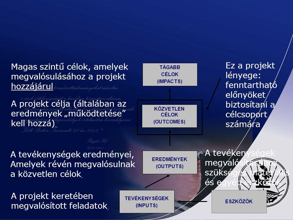 A LOGIKAI KERETMÁTRIX KIDOLGOZÁSA 2. a) BEAVATKOZÁSI LOGIKA A probléma-, cél- és stratégia elemzésből adódik A stratégiai cél biztosítja a programhoz
