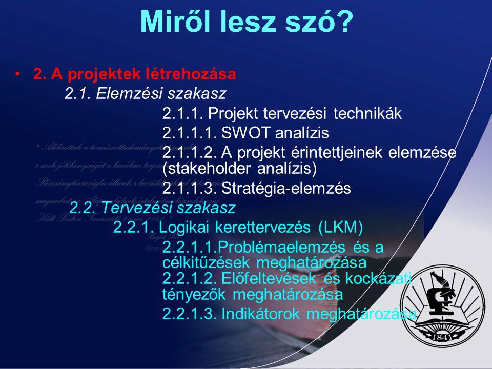 KULTURÁLIS PROJEKT CIKLUS MENEDZSMENT III. MODUL A PÁLYÁZATÍRÁS ÉS 2. A projektek létrehozása 2.2. Tervezési szakasz