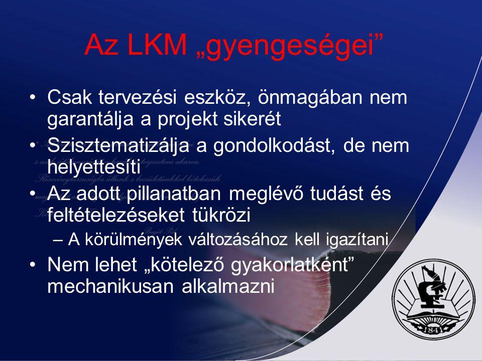 Az LKM módszer erősségei Összehozza az érintetteket a célok és stratégiák világos megfogalmazásához Világos célokat állít fel, azokat hierarchikus sor